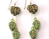 Eden - Czech olive&gold glass leaves, 14K goldfilled earrings