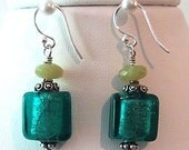 Foiled glass & sterling silver earrings, Teal & Olive