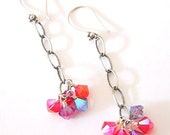 Purple Flame crystal & sterling chain earrings