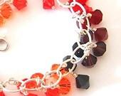 Flame Swarovski crystal & sterling cluster bracelet