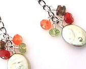 Fall cluster - oxidised sterling, pearl & gem earrings