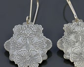 Posy earrings - etched and handpierced sterling silver - solid option