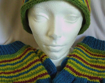 Popsicle Stripes handknit hat and gloves