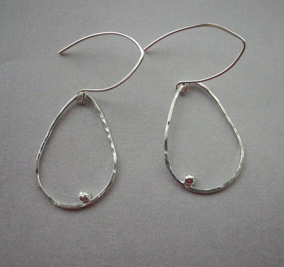 Sterling Silver teardrop hoop earrings Argentium  silver teardrops wishbone ear wires