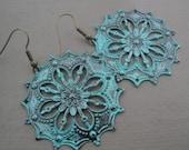 Turquoise Painted Brass Filgree Earrings