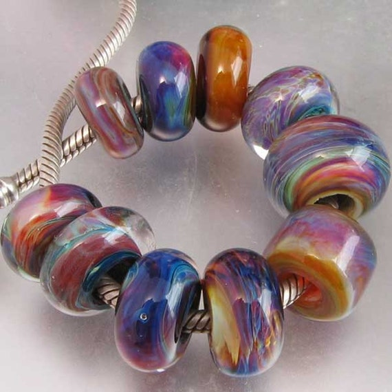Sunset Clouds 10 Large Hole Lampwork OOAK Universal Chain Beads