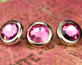 SALE! 10 Rose Crystal Hair Snaps - Round Silver Rim Edition -- Made with Swarovski Crystal Element Rhinestones