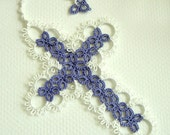 Tatted Cross Bookmark - Tatted Lace Bookmark - Made To Order - Your Color Choice