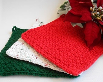 Crochet Wash Cloth Set of 3 - Christmas Red, Winter White, Evergreen Green, Christmas Gift, Holiday Washcloths - Cotton Dishcloths