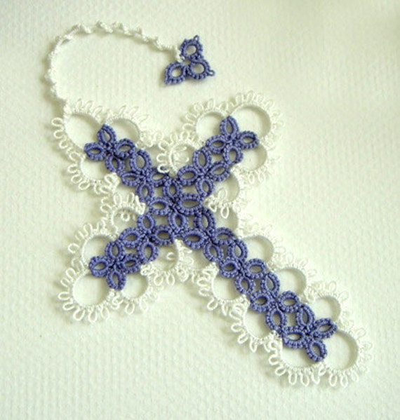 Tatted Cross Bookmark - Lavender and White