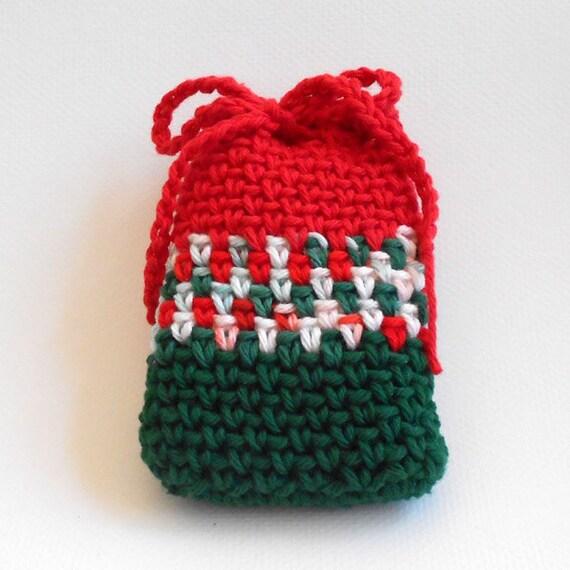 Christmas Cotton Crochet Soap Saver Soapbag - FREE SHIPPING