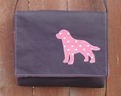 Black Messenger bag with Pink Dog