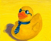 OFFICE DUCK - rubber ducky painting LARGE archival print