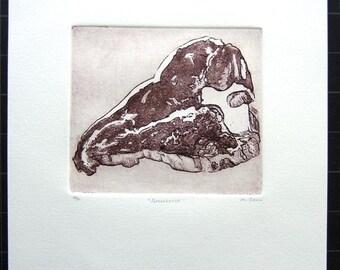 PORTERHOUSE etching/aquatint of porterhouse steak, original meat art object, tbone
