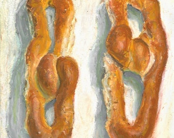 Philly Soft Pretzels - hi quality archival print of original oil pastel drawing
