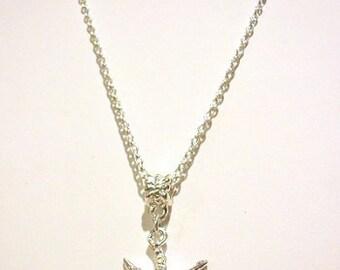 Silver Plated Rhinestone Crystal Starfish Pendant Necklace