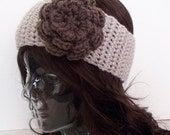 Made to Order - Flower Headband Ear Warmer in 2 Colors - Linen and Taupe - Choose from 45 Colors - Free Shipping