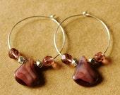 Lavender-Adorned Hoop Earrings