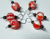 Mango Punch Stitch Markers with Hematite Healing Beads (6 Stitch Markers)
