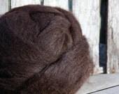 Super Sale DESTASH 14oz Dark Brown Huacaya Alpaca Fine Rambouillet Wool Roving - luscious dark chocolate