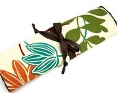 large knitting needle case - art tool organizer - magnolia - brown pockets for all sizes or paint brushes