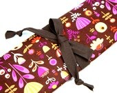 CLEARANCE SAVE 40% Large Knitting Needle Case - poppy dot - brown pockets for all sizes, circular, straight, dpn, or paint brushes