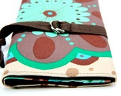 SHORT Knitting Needle Organizer Case - Medallion - 24 brown pockets for circular, double pointed, interchangeable or travel