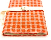 SHORT Knitting Needle Organizer Case - Stitches on Tangerine Orange - 24 natural cotton pockets for circular, double pointed or travel