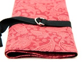SHORT Knitting Needle Organizer Case - Red Paisley - 24 black pockets for circular, double pointed, interchangeable or travel