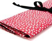 Knitting Needle Case or Art Tool Organizer - FEEDSACK DAISIES - 30 black pockets