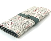 SHORT Knitting Needle Case - Hometown - Gray Pockets for circular, double pointed, interchangable or travel