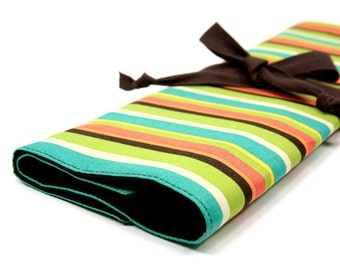 Large Knitting Needle Case Organizer - Frolic Stripes - 30 brown pockets for straights, circular, double pointed or paint brushes