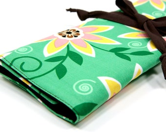 Knitting Needle Case   - Passionflower - IN STOCK Large Organizer 30 brown pockets for circular, straight, dpn, or paint brushes