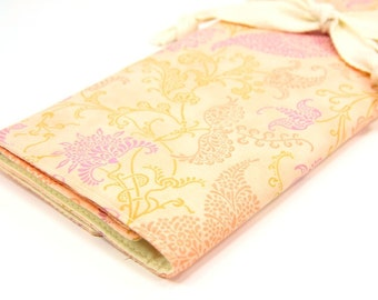 Large Knitting Needle Case Organizer - Peachy Keen - 30 ivory pockets for circular, straight, dpn, or paint brushes