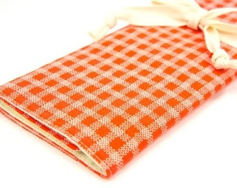 Large Knitting Needle Case - Stitches on Tangerine - 30 ivory pockets for circular, straight, dpn, or paint brushes