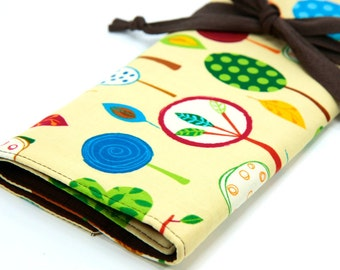 Knitting Needle Case - Tree Party - IN STOCK brown pockets for circular, straight, dpn, or paint brushes