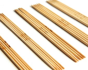 SALE 5 inch Bamboo Double Pointed Knitting Needle Set - Includes US Sizes 0 1 2 3 4