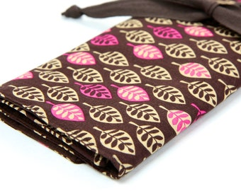 Large Knitting Needle Case - Mod Leaves - brown pockets for circular, straight, dpn, or paint brushes