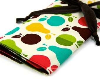 Large Knitting Needle Case Organizer - Apples N Pears - 30 brown pockets for circular, straight, dpn, or paint brushes