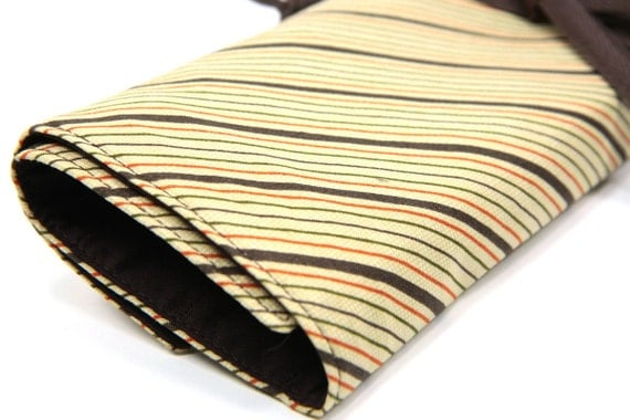 Knitting Needle Case   - Chocolate Royale - IN STOCK Large Organizer 30 brown pockets for circular, straight, dpn, or brushes