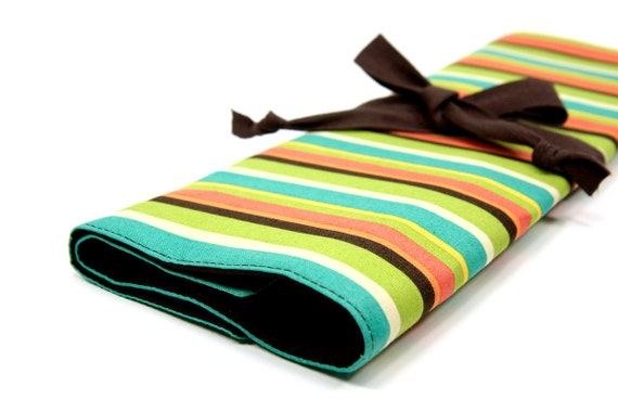 Knitting Needle Case   - Frolic Stripes - IN STOCK 30 brown pockets for straights, circular, double pointed or paint brushes