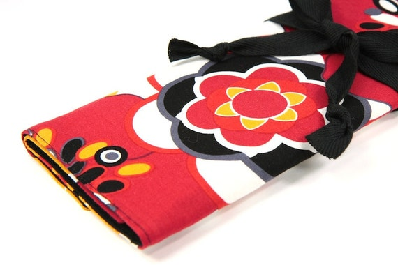 Knitting Needle Case - Kleo - IN STOCK black pockets for all sizes, straight, circular or paint brushes