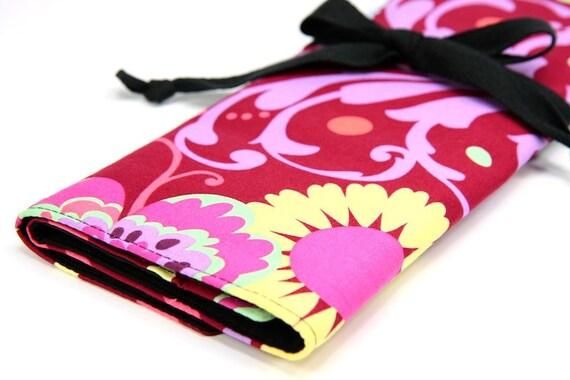 LARGE Knitting Needle Case Organizer - Paradise Garden - 30 black pockets - Last One