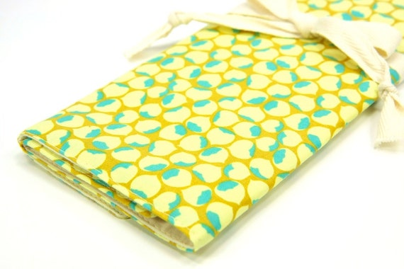 Knitting Needle Case - Dew Drops - Large Organizer 30 natural cotton pockets for circular, straight, dpn, or paint brushes