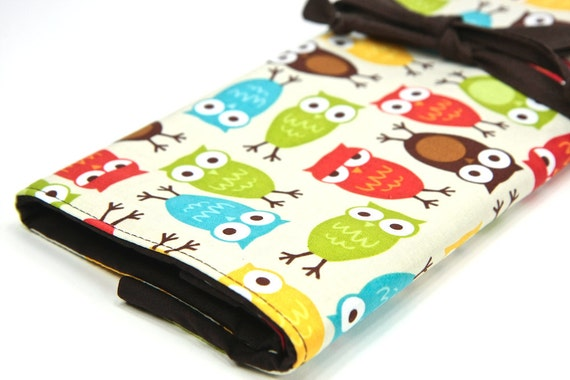 Large - Knitting Needle Case Organizer URBAN OWLS 30 Brown pockets for all sizes or paint brushes FEATURED in Knit Simple Magazine