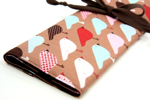 Large Knitting Needle Case Organizer - Love Birds - 30 brown pockets for circular, straight, dpn, or paint brushes