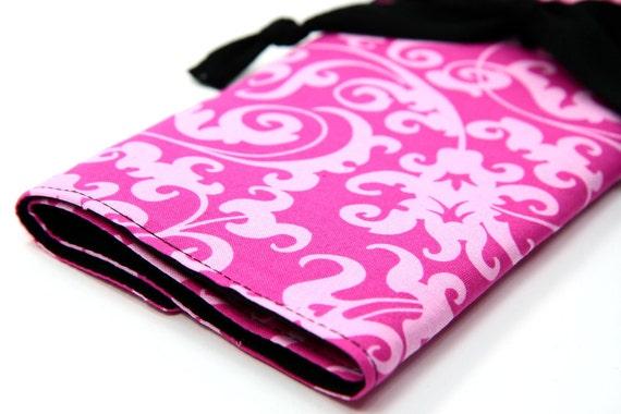 CLEARANCE large knitting needle case - hot pink damask - black pockets