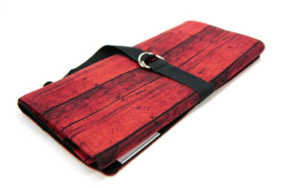 SHORT Knitting Needle Organizer Case - Red Barn - 24 black pockets for circular, double pointed, interchangeable or travel
