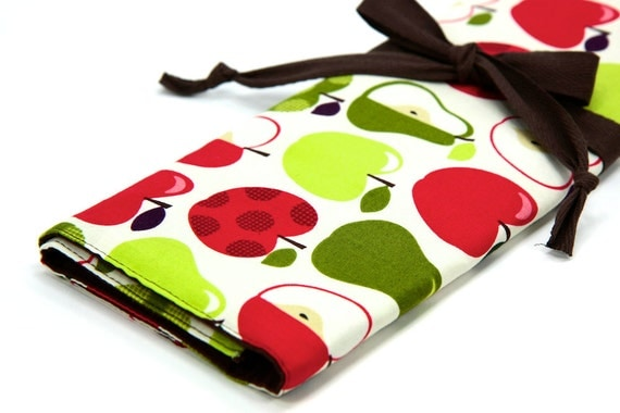 Large Knitting Needle Case - Apples 2 Apples - brown pockets for circular, straight, dpn, or paint brushes