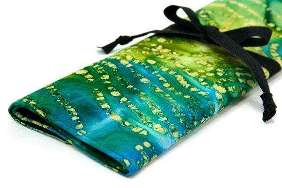 Large Knitting Needle Case Organizer - Dragon Batik - 30 black pockets for circular, straight, dpn, or paint brushes